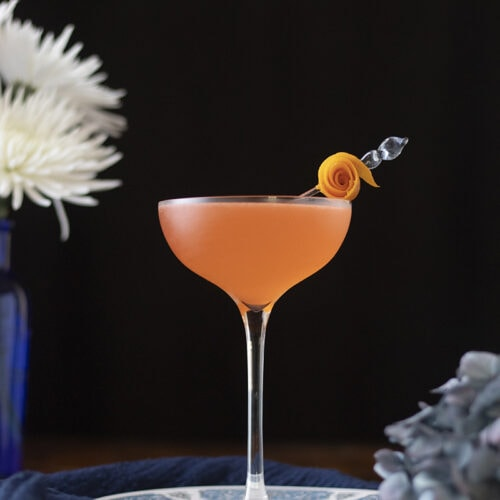 orange cocktail in a coupe glass