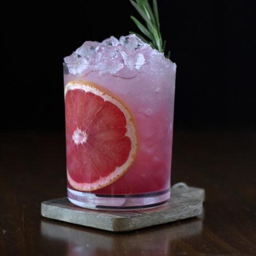 grapefruit and pomegranate vodka sour cocktail recipe