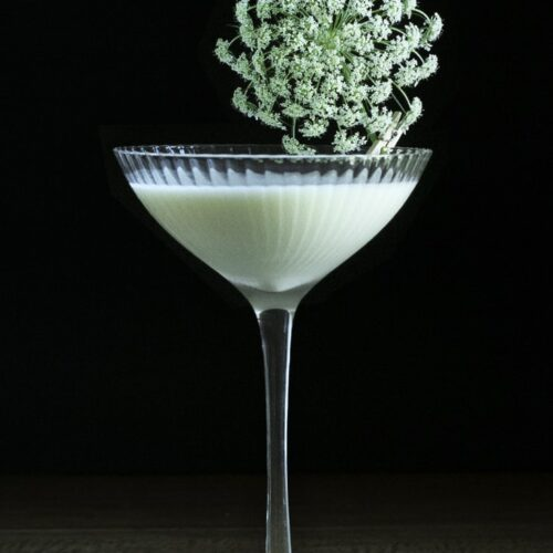 white creamy cocktail in a coupe with large flower.