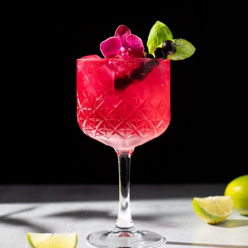 a bright pink drink in a stemmed glass with an orchid