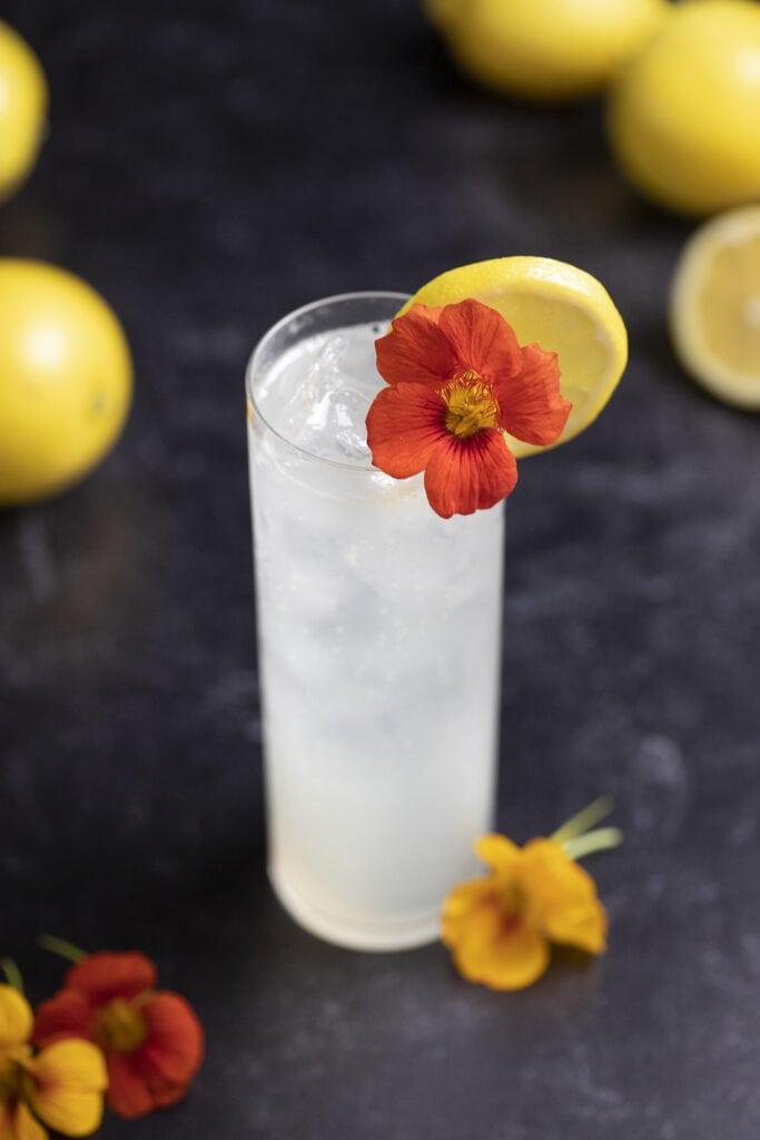 tall cocktail garnished with orange nasturtium flower.