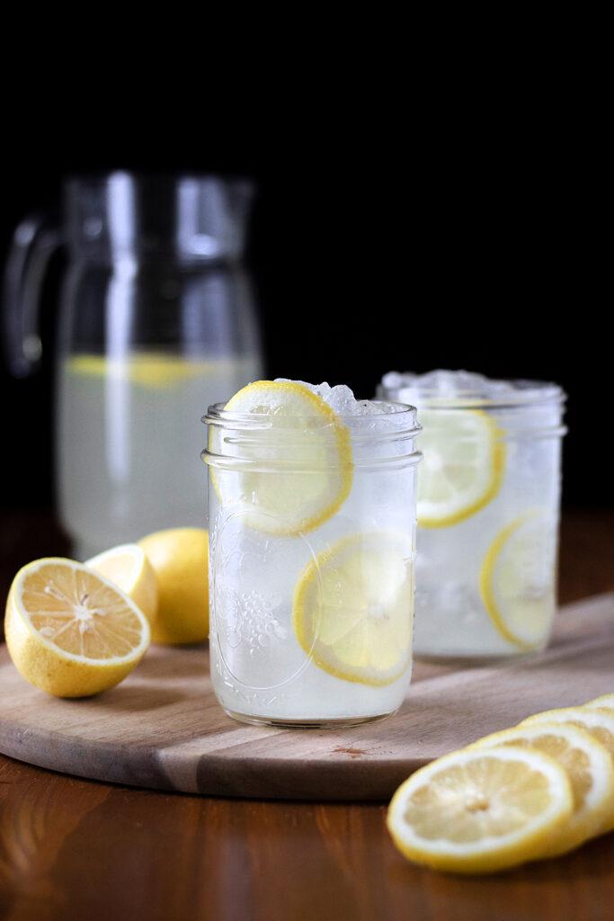 two mason jars of lemonade
