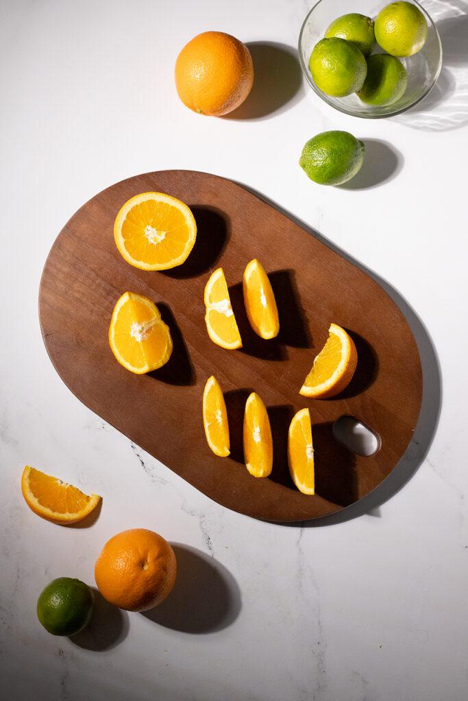 an orange cut into fancy wedges